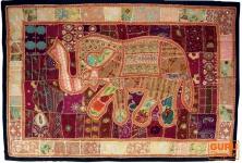 Indischer Wandteppich Patchwork mit Elefant, Einzelstück