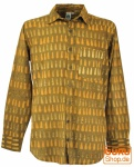 Goa Boho Hemd, Langarm Herrenhemd mit afrikanischem Druck - curry