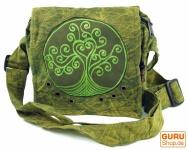 Ethno Schultertasche, Nepaltsche Stonewash `Tree of life`- grün