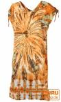 Boho Kaftan, langes Kurzarm Batikkleid, Strandkleid, Sommerkleid in Übergröße - orange
