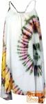 Batik Minikleid, Tunika Hippie chic, Strandkleid, Sommerkleid - weiß