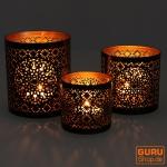Filigranes orientalisches Metall Windlicht, Teelicht Leuchte mit fein gefrästem Design - Motiv 2