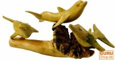 Geschnitzte kleine Deko Figur - Delphin Ensemble