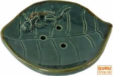 Keramik Seifenschale Lotusblatt mit Gecko