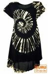 Batik Tunika, Hippie chic, Strandkleid, Sommerkleid - schwarz