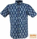Goa Hippie Hemd, Kurzarm Herrenhemd mit afrikanischem Druck - indigo