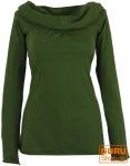 Hoody Boho chic, Langarmshirt mit Schalkragen - olive