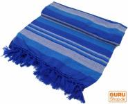 Weiche gewebte doubleTagesdecke `Kerala` aus Baumwolle mit Fransen - blau/gestreift