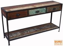 Vintage Sideboard mit 3 Schubladen, aus Metall und Recyclingholz