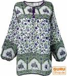 Leichte Hippie Bluse, Sommerbluse, Tunika, Damen Bluse, Langarm Bluse - grün/lila