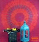 Indisches Mandala Tuch, Wandtuch, Tagesdecke Mandala Druck single - rot