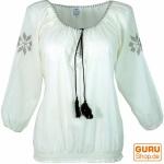 Leichte Sommerbluse, bestickte Bluse - weiß/braun
