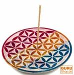 Indischer Räucherstäbchenhalter aus Speckstein, Regenbogen Kerzenteller - Blume des Lebens 2