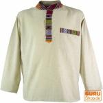 Nepal Ethno Fischerhemd Goa Hemd - creme