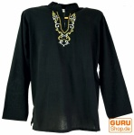 Yoga Hemd bestickt, Goa Shirt - schwarz/gelb