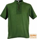 Yoga Hemd, Goa Hemd, Kurzarm, Männerhemd, Baumwollhemd - olive