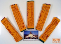 5 Stück Spaarpack Gebetsfahnen (Tibet) mit 10 Wimpeln in verschiedenen Längen, aus Baumwolle mit feinem Druck