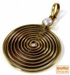 Amulett Lebensspirale, Kettenanhänger aus Messing - Perle