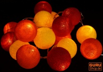 Stoff Ball Batterielichterkette 3xAA LED Kugel Lichterkette - rot/gelb