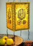Lokta Papier Hänge-Lampenschirm, Deckenleuchte aus handgeschöpftem Papier - Mandala gelb