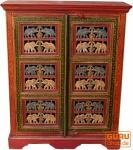 Bemalter Elefantenschrank, Beistellschrank, Kommode mit Schnitzerei (JH0-279-A)