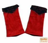 Handstulpen aus Samtstoff, Wendestulpen - rot