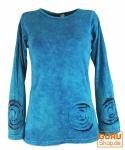 Langarmshirt Spirale - blau