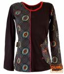 Langarmshirt Hippie chic, Goa Shirt bestickt