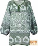 Leichte Hippie Bluse, Sommerbluse, Tunika, Damen Bluse, Langarm Bluse - grün