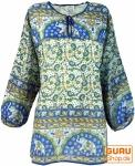Leichte Hippie Bluse, Sommerbluse, Tunika, Damen Bluse, Langarm Bluse - blau/grün