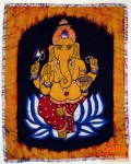 Handgemaltes Batik-Bild, Wandbehang, Wandbild - Ganesha