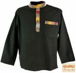 Nepal Ethno Fischerhemd Goa Hemd - schwarz