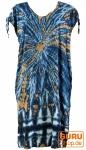 Boho Kaftan, langes Kurzarm Batikkleid, Strandkleid, Sommerkleid in Übergröße - blau