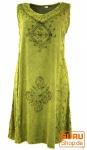 Besticktes Boho Sommerkleid, Midikleid, indisches Hippie Kleid in 7/8 Länge, lemon - Design 10