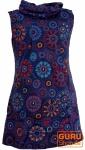 Bestickte Mädchen Tunika mit Schalkragen, kurzärmeliges Ethno Minikleid - dunkelblau