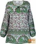Leichte Hippie Bluse, Sommerbluse, Tunika, Damen Bluse, Langarm Bluse - grün/pink