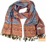 Indischer Schal mit Paislay Muster - grau
