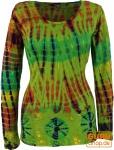 Batik Shirt, Langarmshirt - grün