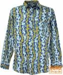 Freizeithemd, Goa Boho Hemd, Langarm Herrenhemd mit afrikanischem Druck - indigo/curry