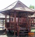 Runder Kokosholz Gartenpavillon mit Geländer + Treppe
