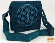 Ethno Schultertasche, Nepaltsche Stonewash `Mandala`- türkis
