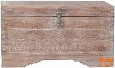 Kleine beschnitzte Holzbox, Truhe im Ethno Design Jh17-007