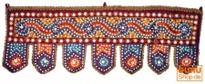 Indischer Wandbehang, Orientalischer Wimpel mit Pilletten, Toran - bordeaux