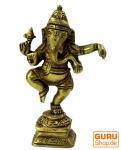 Messingfigur Ganesha Statue, tanzender Ganesha 10 cm - Motiv 16