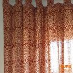 Vorhang, Gardine (1 Paar Vorhänge, Gardinen) mit Schlaufen, handbedrucktes Blumen Design