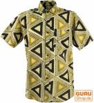 Goa Hippie Hemd, Kurzarm Herrenhemd mit afrikanischem Druck - beige