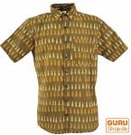 Goa Hippie Hemd, Kurzarm Herrenhemd mit afrikanischem Druck - curry