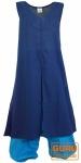 Langes Boho Kaftankleid mit passender Aladinhose - blau/türkis