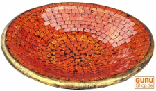 Runde Mosaikschale, Untersetzer, Dekoschale, handgearbeitete Keramik & Glas Obst Schale - Design 1