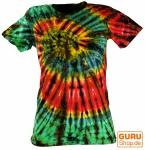 Batik T-Shirt für Damen, Tie Dye Goa Shirt - grün/schwarz